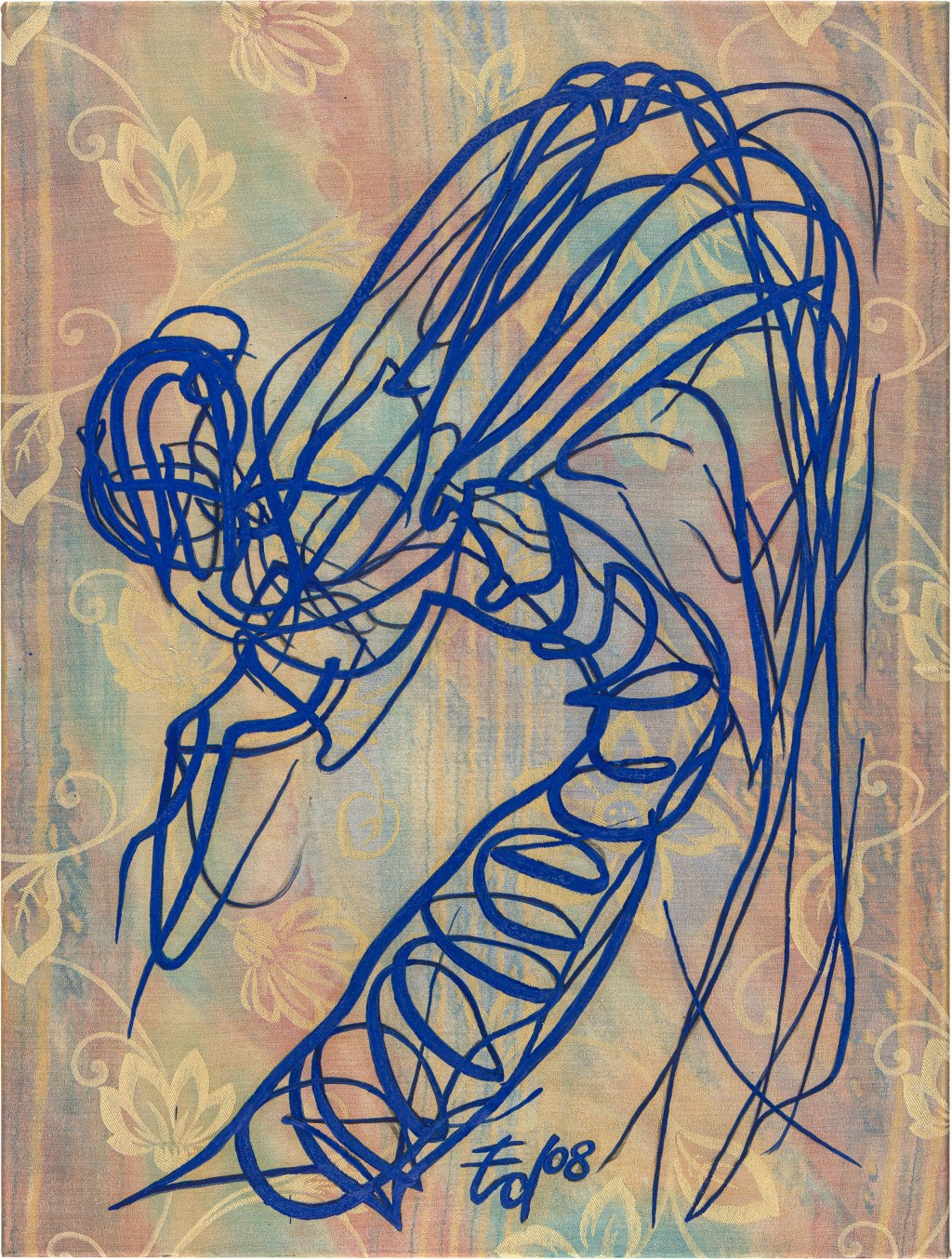 Libellenkörper gemalt in Blau