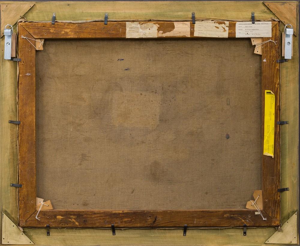 Rückseite des gerahmten Bildes mit Aufklebern