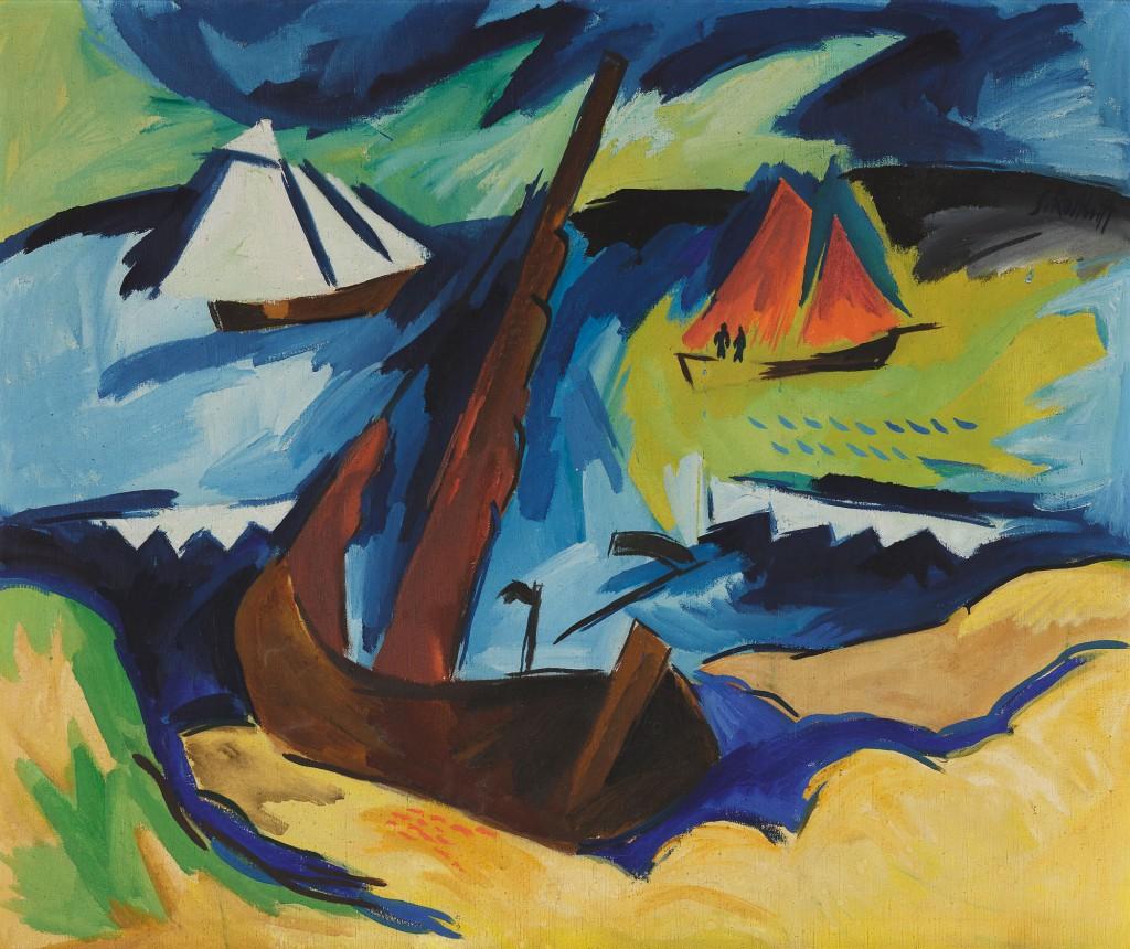 farbenfrohes Bild mit Schiffen