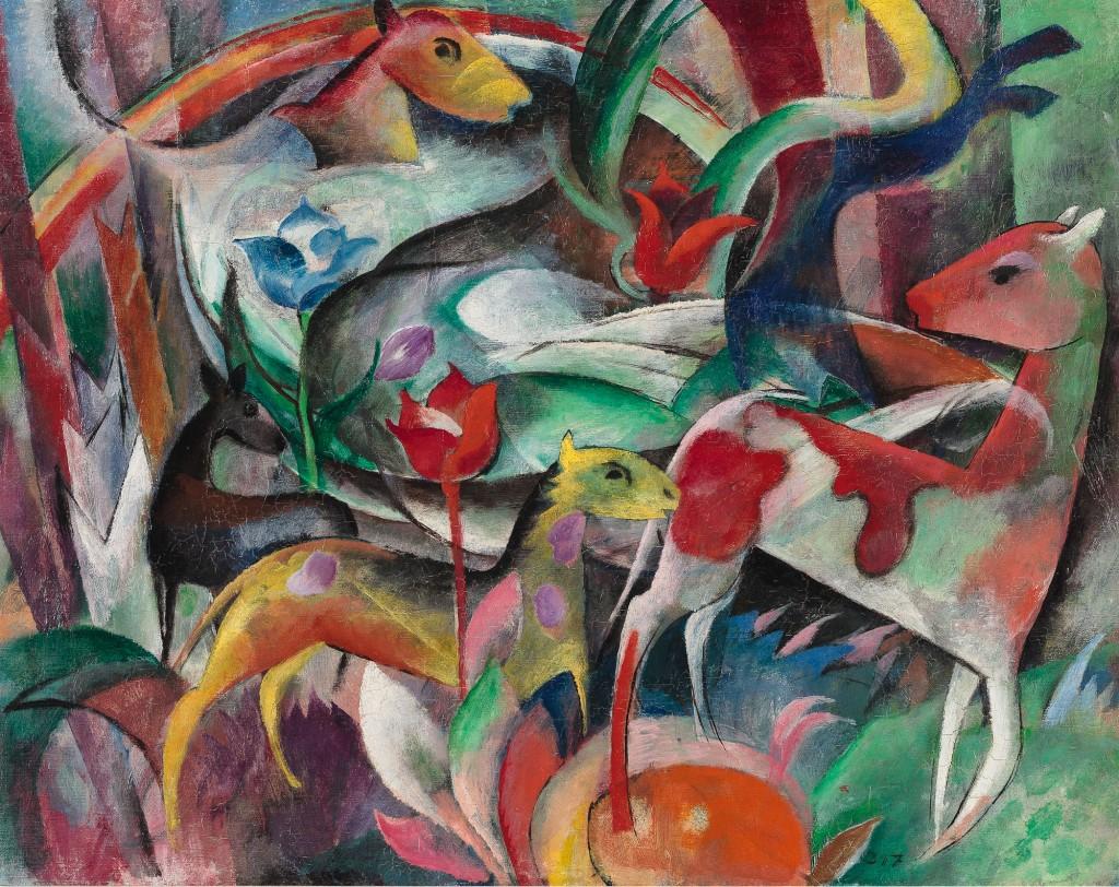 gemaltes abstraktes Bild mit Tieren