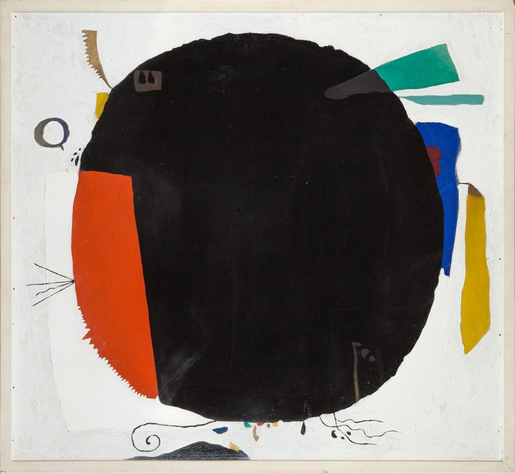schwarzer Kreis mit bunten Elementen