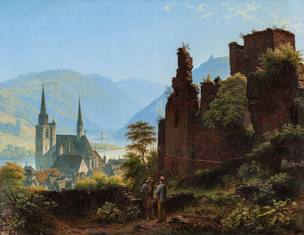 Ruine und Kirche in Landschaft
