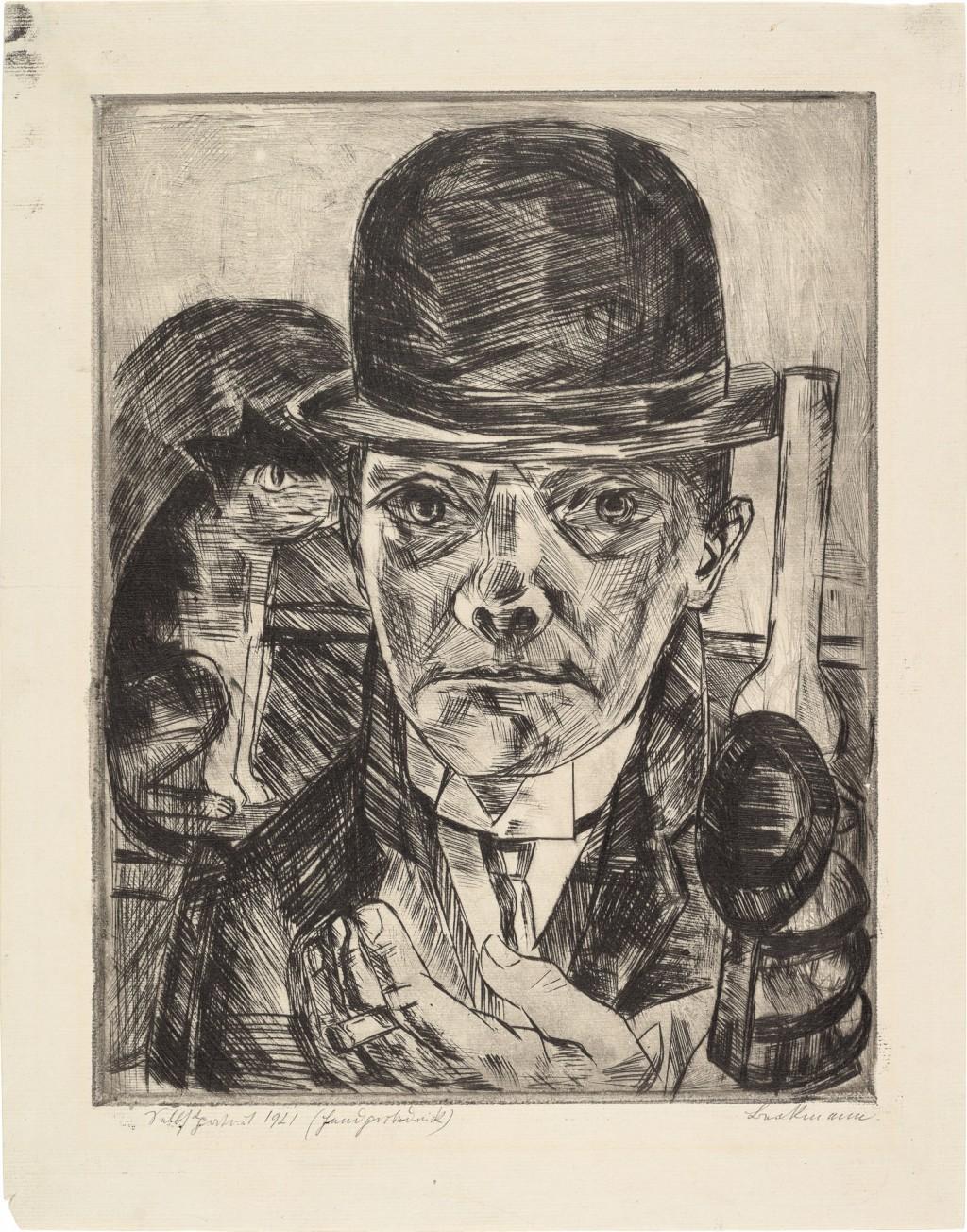 Portrait mit Hut und Zigarette