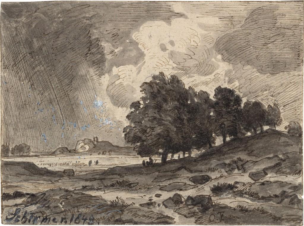 schwarz-weiße Landschaft mit wolkigem Himmel