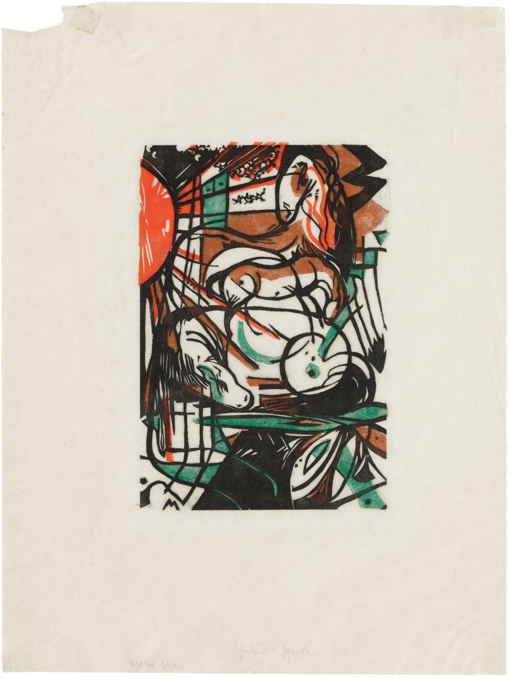 abstraktes Bild mit Schwarz, Rot und Grün