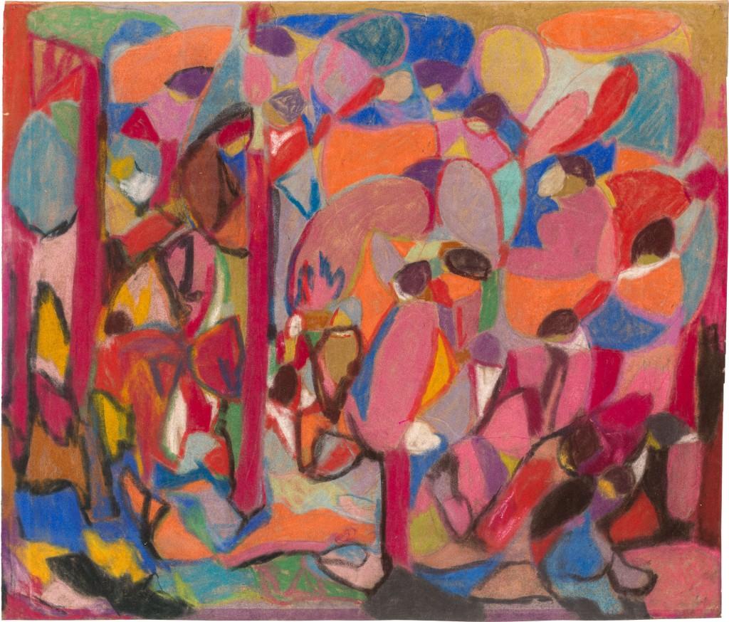 farbenfrohes Gemälde in warmen Tönen