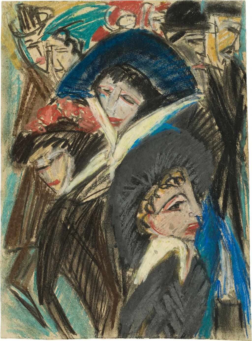 Frauen auf der Straße mit Hüten